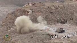 Lebanese army tank attacking an ISIS outpost in the area of the Ras Baalbek, Al-Qaa and Al-Fakiha ridges in the western Al-Qalamoun Mountains.