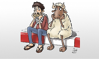 Cartoon describing the situation ahead of the Eid al-Adha Festival, due to begin on 1 September: the livestock markets are virtually empty this year as opposed to previous years. The traders report a drastic decline in the number of buyers (Elresala.net, 28 August 2017).