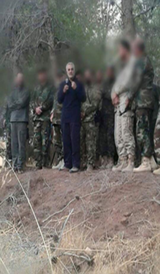 Qasem Solemani briefs fighters, probably in the Lattakia region in Syria (Facebook, October 13, 2015)
