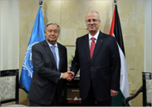 Rami Al-Hamdallah meeting United Nations Secretary General Antonio Guterres (Wafa, 29 August 2017).