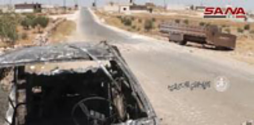 ISIS vehicles hit by Russian Air Force strikes while attempting to withdraw from Uqayribat (Twitter account The'Nimr'Tiger @Souria4Syrians, 4 September 2017).