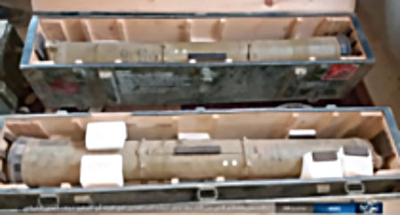 two Syrian army anti-tank missiles captured by ISIS operatives in Abu Al-Tababir.