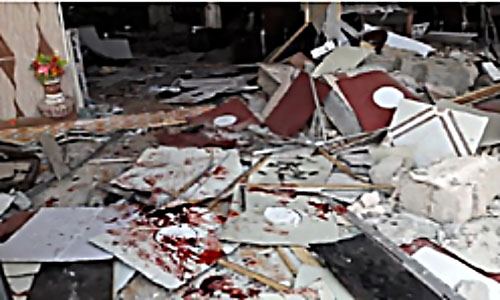 The scene of the suicide bombing attack in the restaurant in Baiji (aliraq.net, September 19, 2017).
