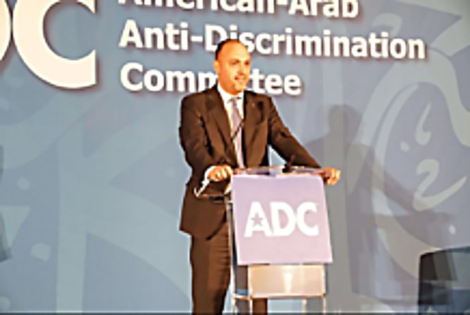 Husam Zomlot speaking at an ADC meeting in Washington, DC (Facebook page of Husam Zomlot, September 24, 2017)