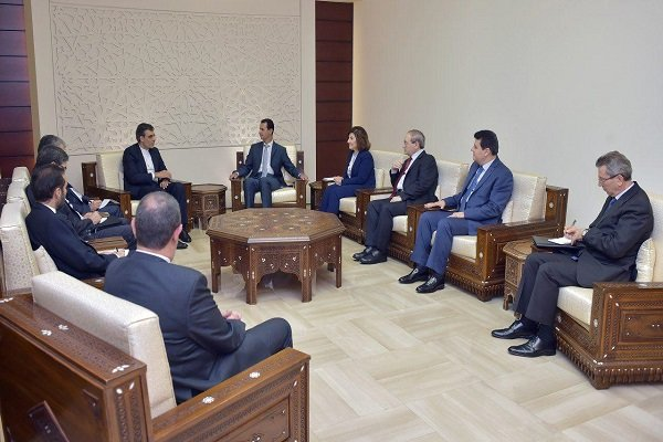 The meeting between President Assad and the Iranian Deputy Foreign Minister Ansari in Damascus (Fars, August 30 2017).