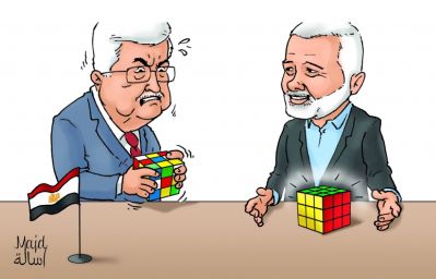 Hamas cartoon showing how easily Isma'il Haniyeh solves problems compared with Mahmoud Abbas (alresalah.net, September 18, 2017).