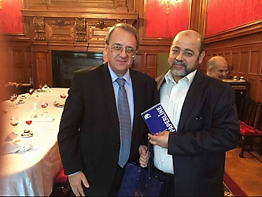Musa Abu Marzouq, deputy head of Hamas' political bureau, with Mikhail Bogdanov, Russian deputy foreign minister (Hamas website, September 21, 2017). Left