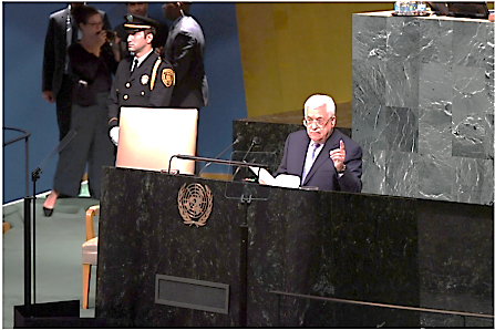 Mahmoud Abbas speaking at a session of the UN General Assembly in New York (Wafa, date, 2017).