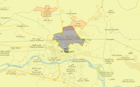 "ISIS's so-called ""security square"" in the center of al-Raqqa (Orient News, September 1, 2017)."
