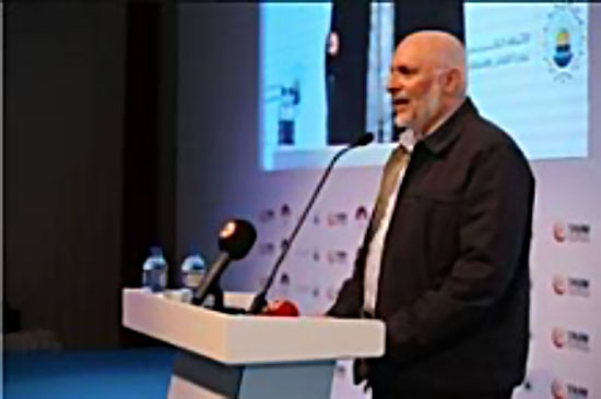 Hamas leader abroad Maher Salah, at a conference in Istanbul (Facebook page of the Global Coalition for the Support of Jerusalem and Palestine, October 20, 2017; Palinfo Twitter account, October 20, 2017).