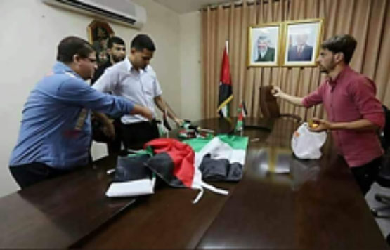 Preparations at Mahmoud Abbas's house in the Gaza Strip for the Palestinian government meeting (Palinfo Twitter account, October 1, 2017).