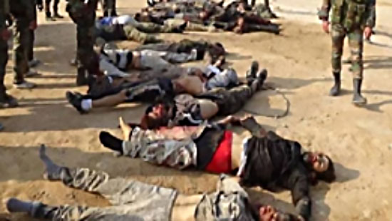 Bodies of ISIS operatives killed in the clashes with the Syrian army (Butulat Al-Jaysh Al-Suri, a website affiliated with the Syrian army, September 30, 2017)