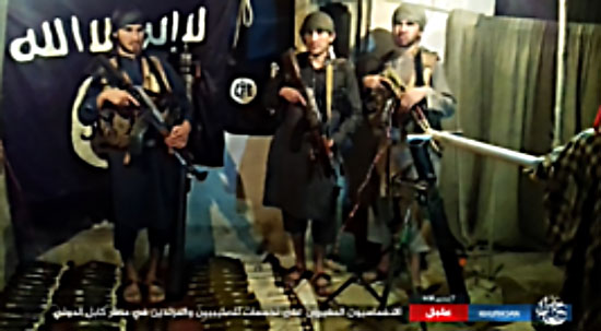 The three ISIS operatives and the weapons that they used in the attack at Kabul International Airport (Haqq, September 28, 2017)