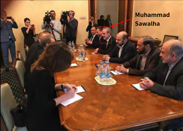 Hamas delegation meets with Russian Deputy Foreign Minister Mikhail Bogdanov (Hamas website, September 21, 2017). The members of the Hamas delegation are sitting on the right. Hamas made their names public. They are [as identified by the ITIC] (right to left) Sami Khater, Husam Badran, Musa Abu Marzouq (center), Muhammad Sawalha (red box) Saleh al-'Arouri and the Hamas representative in Russia (unnamed).
