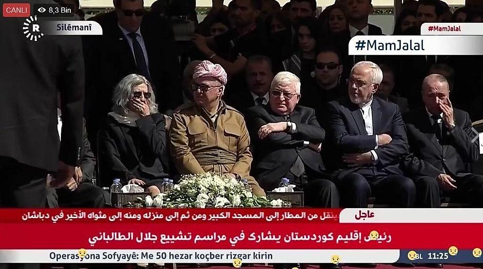 Zarif (second from the right) in Talabani's funeral (Fararu, October 6, 2017)