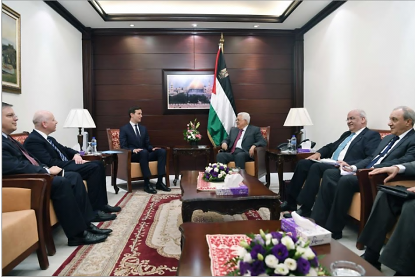 Mahmoud Abbas (center) meets with Jared Kushner, senior advisor to the American president, in his office in Ramallah. On the right are Saeb Erekat, secretary of the PLO's Executive Committee; and Majid Faraj, head of Palestinian general intelligence. At the left are Jason Greenblatt, special presidential American envoy to the Middle East; and Donald Bloom, the American consul in Jerusalem (Wafa, June 21, 2017).