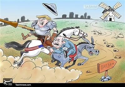 "President Trump and Prime Minister Netanyahu as delusional fighters against windmills. The headline of the caricature: ""Dumb and dumber"" (Tasnim, October 14, 2017)"