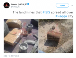Self-manufacture mines planted by ISIS operatives around Al-Raqqah (local Twitter account from Al-Raqqah, October 16, 2017).