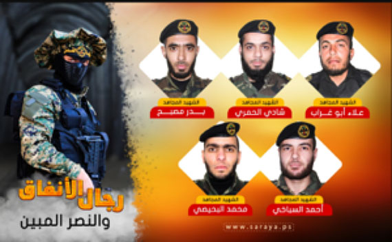 Official PIJ death notice for five operatives of its military-terrorist wing whose bodies are held by Israel. Right to left, top to bottom: Alaa' Abu Ghrab, Shadi al-Hamri, Bader Musbah, Ahmed al-Sabakhi and Muhammad al-Bahisi (website of the Jerusalem Battalions, November 3, 2017).