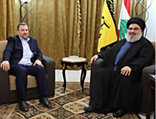 Saleh al-'Arouri meets with Hassan Nasrallah (Felesteen, November 1, 2017).
