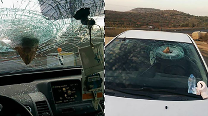 The Israel car damaged by a rock thrown near the village of Deir Nadham, northwest of Ramallah (Facebook page of Shehab, November 13, 2017).