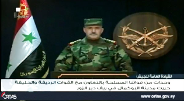 The announcement of the Syrian General Staff on the liberation of Albukamal; ISIS operatives retook the city after the announcement (Syrian TV, November 9, 2017)