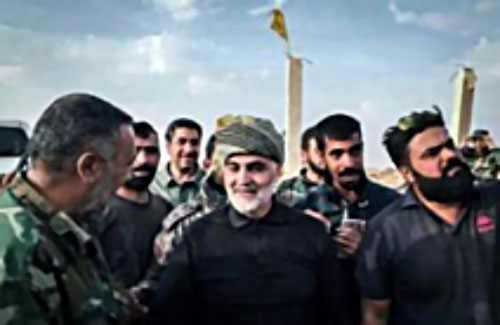 Iranian Revolutionary Guards' Qods Force Commander Qassem Soleimani with fighters of the Nujaba Movement.
