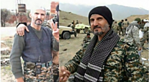 Two photos of Ali Reza Nazari, a senior IRGC commander killed during the capture of Albu Kamal (Baladi News, November 20, 2017)