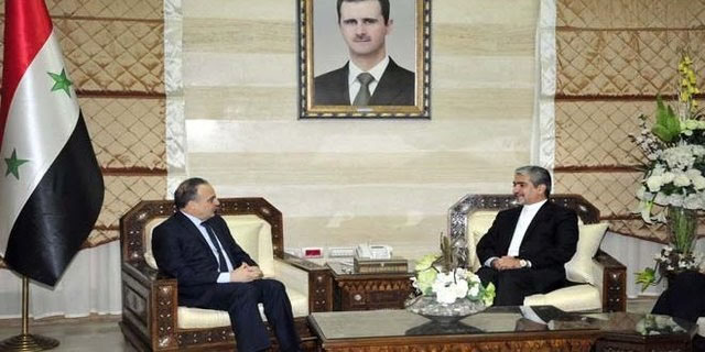 The meeting between Iran's Ambassador to Damascus Javad Torkabadi and Syrian Prime Minister Imad Khamis (ISNA, June 12, 2017).