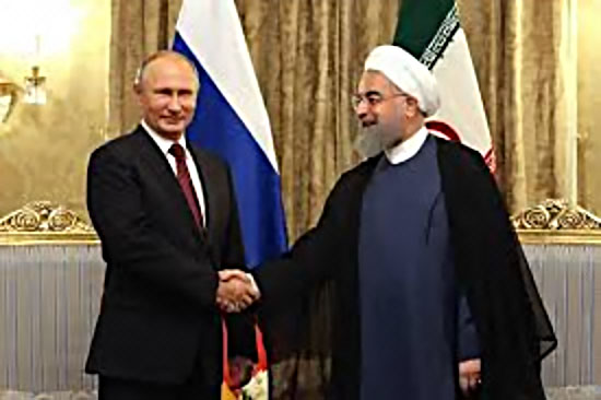 Meeting between Russian President Putin and Iranian President Rouhani in Tehran (Mehr, November 1, 2017).