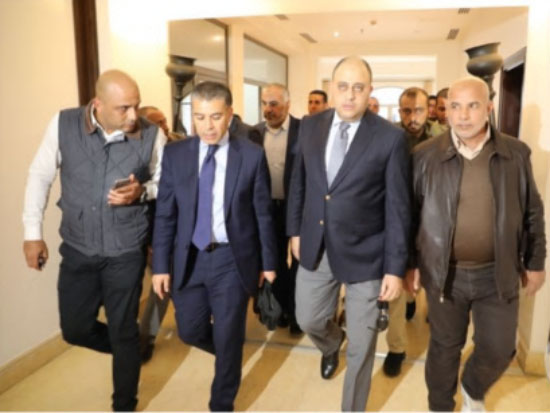 An Egyptian security delegation accompanied by Tawfiq Abu Na'im (right) on its arrival in the Gaza Strip. Abu Na'im is responsible for the security forces in the Gaza Strip (Ma'an, November 27, 2017).