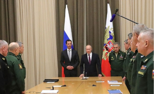 Putin and Assad meeting with senior officials from the Russian Ministry of Defense and the General Staff (Kremlin website, November 21, 2017)