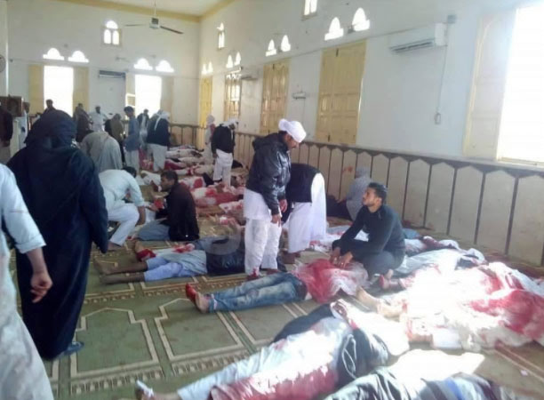 Bodies of some of the people killed in the terrorist attack in the Al-Rawdah mosque (Haqq, November 25, 2017)
