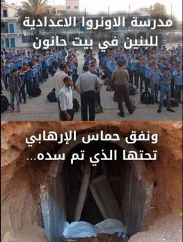 The UNRWA boys' middle school in Beit Hanoun in the northern Gaza Strip and the tunnel under it (Facebook page of COGAT in Arabic, October 29, 2017).