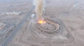 The attack on the municipal sports stadium of Deir ez-Zor, which served as a Syrian army ammunition depot (Haqq; file-sharing website, October 30, 2017)