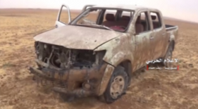Vehicle of the Headquarters for the Liberation of Al-Sham which was hit by Syrian army fire (Twitter account of Hezbollah's Military Spokesman's Office, October 29, 2017)