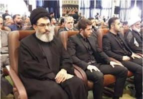 Usama Hamdan and Muhammad Nasr (second row) at a memorial service in Tehran for the father of Qasem Soleimani.