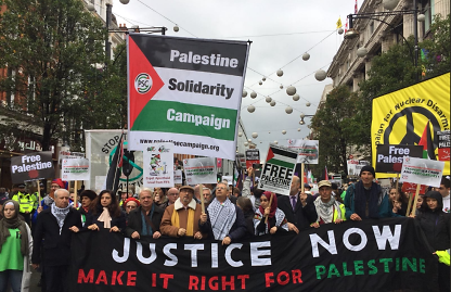 "Rally in London protesting Israel and the Balfour Declaration attended by leftist Palestinian activist Mustafa Barghouti (center, directly under the ""n"" in ""Campaign"") (Palinfo Twitter account, November 4, 2017)."