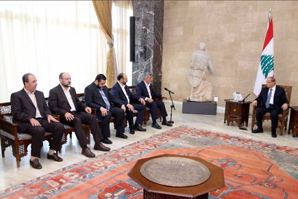 The Hamas delegation meets with Lebanese President Michel Aoun (Twitter account of Izzat al-Rishq, November 10, 2017).