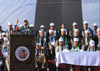Senior Hamas figure Khalil al-Haya gives a speech at the rally marking the 13th anniversary of the death of Yasser Arafat held by supporters of Muhammad Dahlan (Paltoday, November 9, 2017).