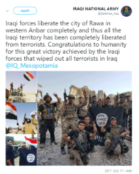 The Iraqi army's announcement of its takeover of the city of Rawa (Twitter account, November 17, 2017).