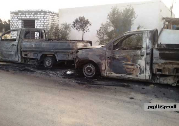 Two vehicles belonging to residents, burnt by ISIS operatives (Al-Masry Al-Youm, November 25, 2017)