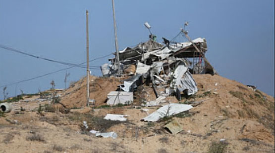 Post belonging to the PIJ's military-terrorist wing in the northern Gaza Strip after an IDF attack (Safa, December 4, 2017).