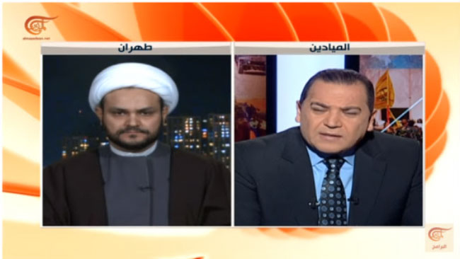 Sheikh Akram al-Kaabi, secretary general of the Movement of the Noble Ones, interviewed by the Lebanese TV channel al-Mayadeen. He gave the interview from Tehran (YouTube channel of al-Mayadeen TV, November 24, 2017).