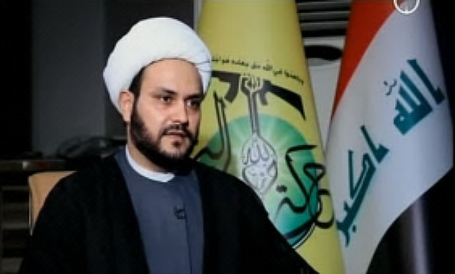 Sheikh Akram al-Kaabi, secretary general of the Movement of the Noble Ones, dressed in traditions Shi'ite garb during an interview (YouTube Beladi TV channel, November 7, 2015).
