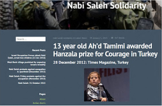Article published on the Nabi Saleh Internet site about the prize awarded to Ahed Tamimi in Turkey (nabisalehsolidarity.wordpress.com, December 2017).