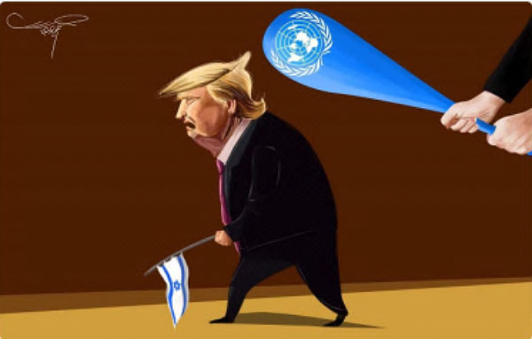Cartoons in the Palestinian media after the UN vote (Palinfo Twitter account, December 22 and 23, 2017).