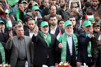 Senior Hamas figures at the rally (Hamas Twitter account, December 14, 2017).