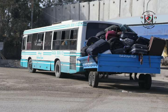 A bus leaves the Rafah crossing.