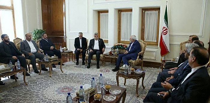 Members of the delegation meet with Mohammad Javad Zarif, the Iranian foreign minister.